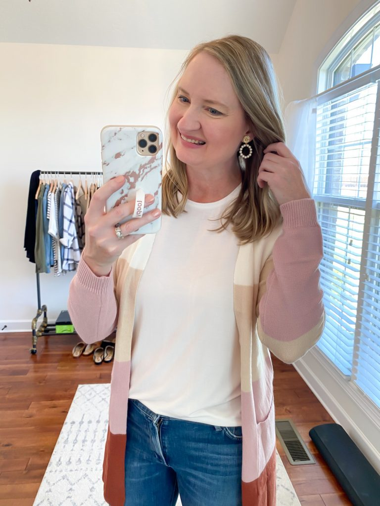 GRAYSON J CREW AMAZON TRY-ON SESSION SEPT 2020 - amazon colorblock cardigan j crew white tee earrings