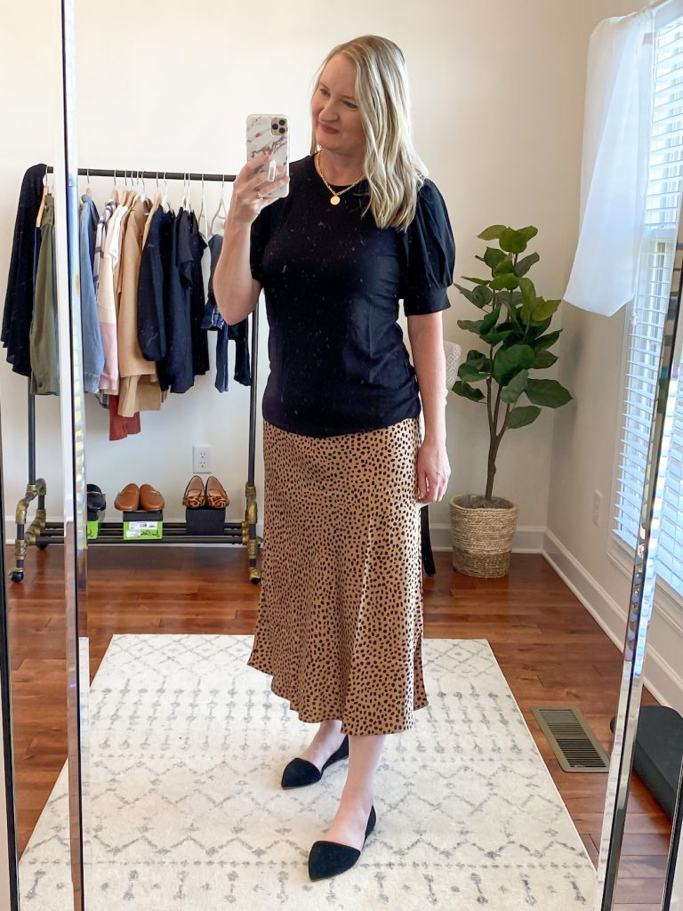 GRAYSON J CREW AMAZON TRY-ON SESSION SEPT 2020 - black puff sleeve tee leopard skirt
