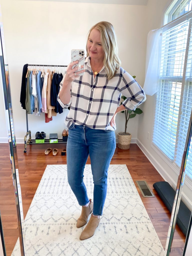 GRAYSON J CREW AMAZON TRY-ON SESSION SEPT 2020 - grayson flannel shirt jeans booties tucked