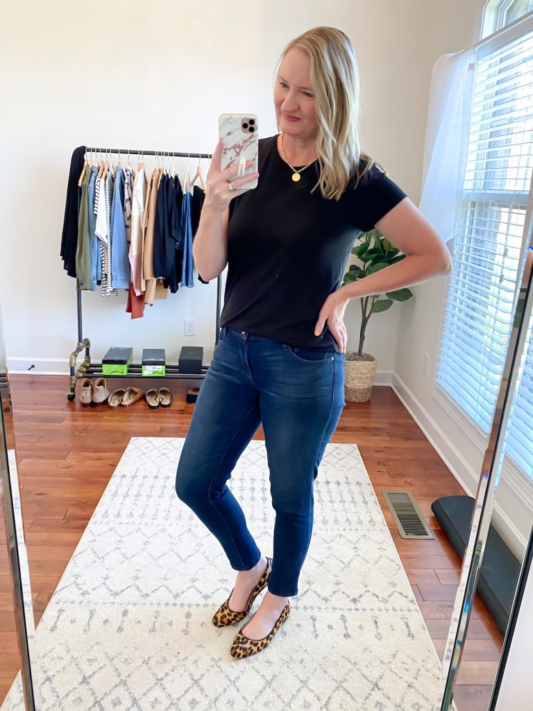 GRAYSON J CREW AMAZON TRY-ON SESSION SEPT 2020 - j crew black tee jeans leopard flats