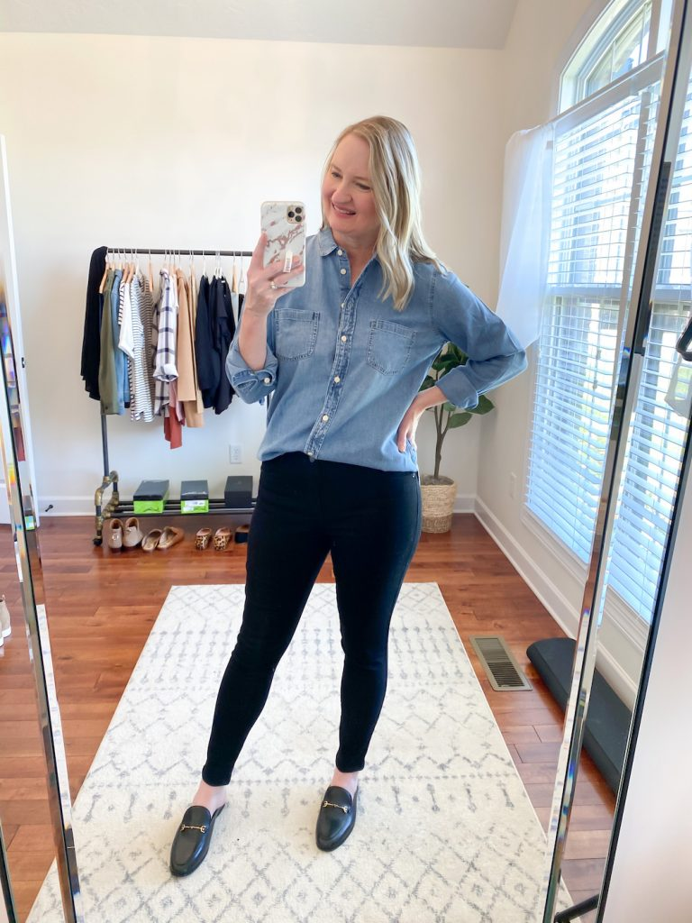 GRAYSON J CREW AMAZON TRY-ON SESSION SEPT 2020 - j crew chambray shirt black jeans mules