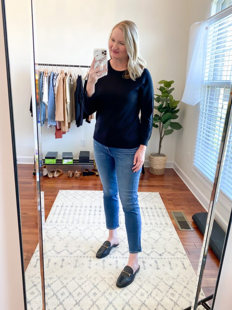 GRAYSON J CREW AMAZON TRY-ON SESSION SEPT 2020 - j crew tippi sweater jeans black mules