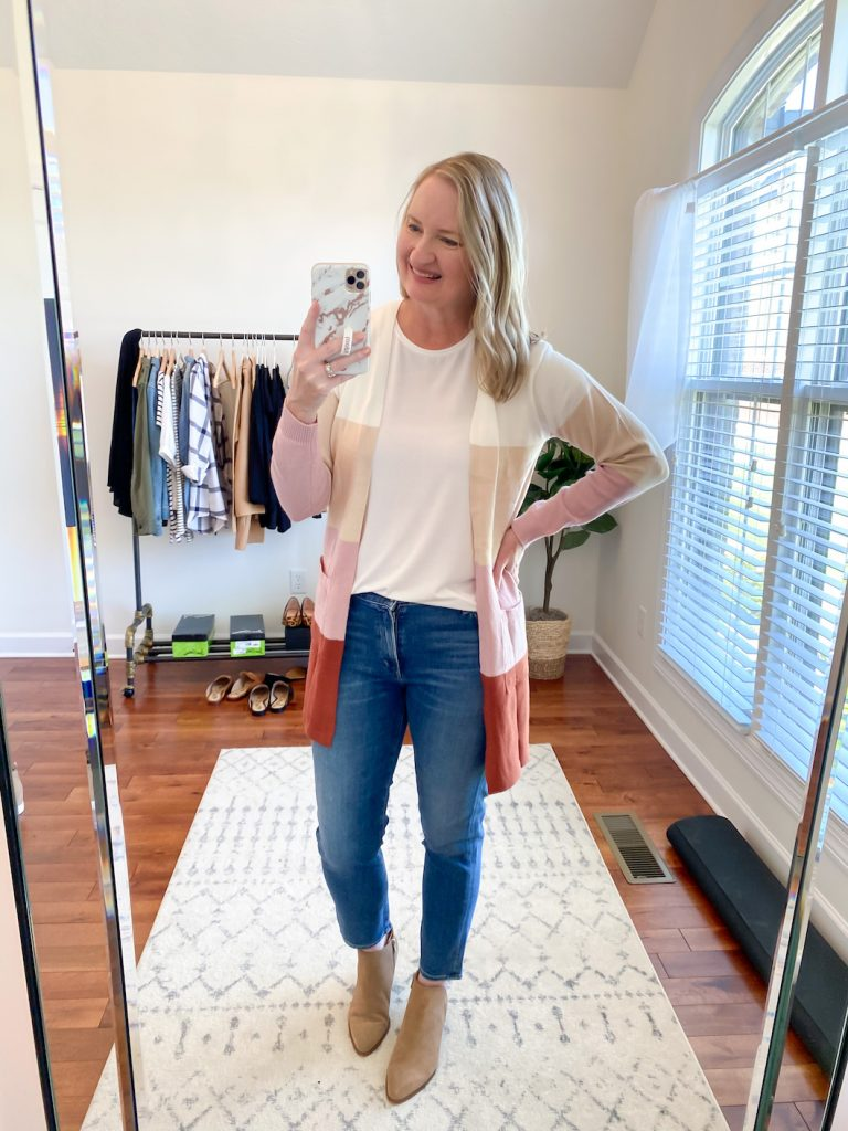 GRAYSON J CREW AMAZON TRY-ON SESSION SEPT 2020 - j crew white tee amazon colorblock cardigan jeans booties