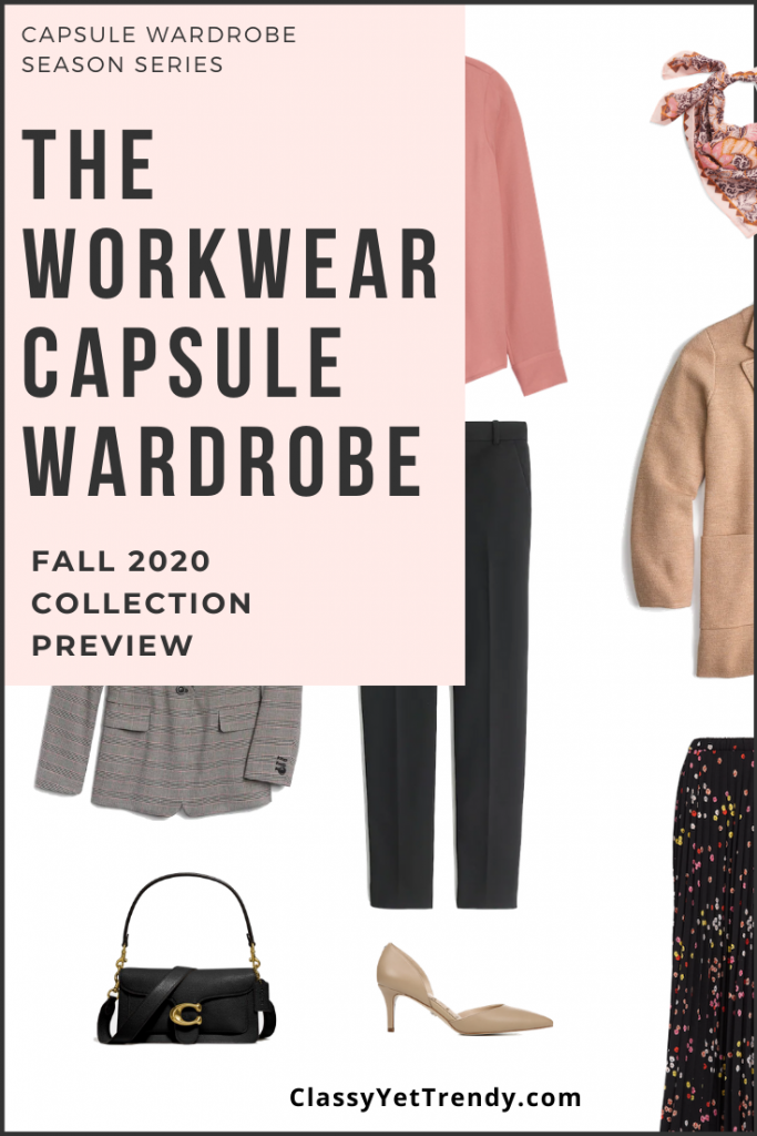 Workwear Capsule Wardrobe Fall 2020 Layout Pin