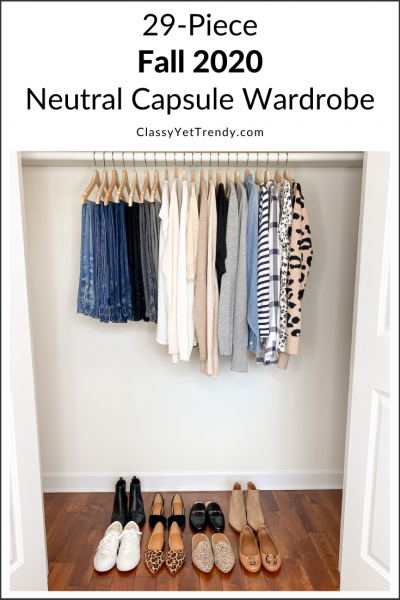 29-Piece Fall 2020 Neutral Capsule Wardrobe - closet pin