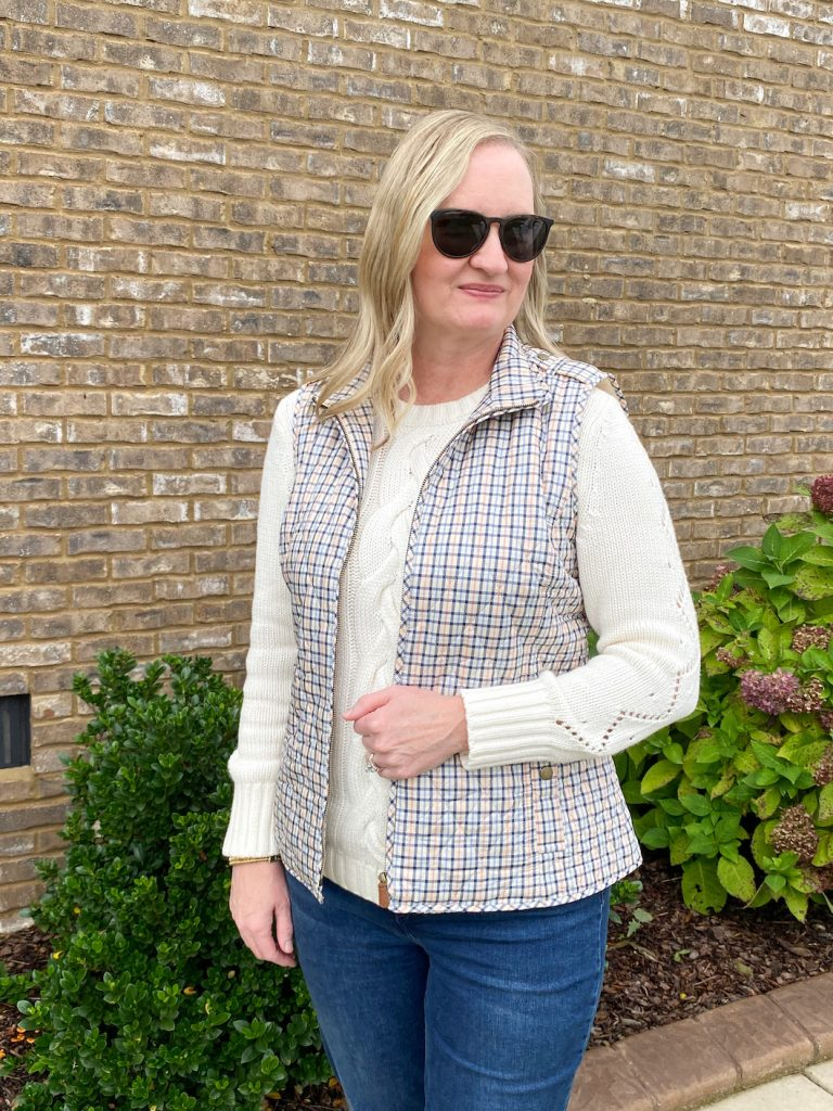 Classy Yet Trendy Wearing Talbots Cableknit Sweater Jeggings Diamond Quilted Vest Loafers Gold Bangle