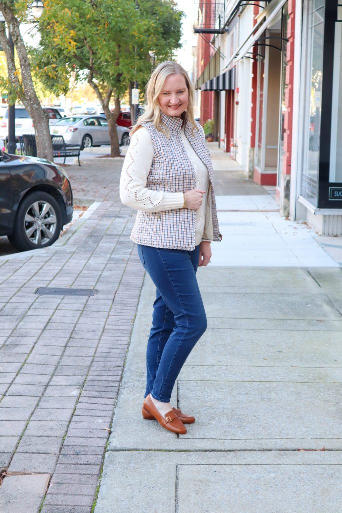 Classy Yet Trendy Wearing Talbots Cableknit Sweater Jeggings Diamond Quilted Vest Loafers Gold Bangle Earrings Broad Street