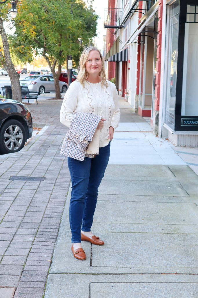 Classy Yet Trendy Wearing Talbots Cableknit Sweater Jeggings Loafers Gold Bangle Earrings Street