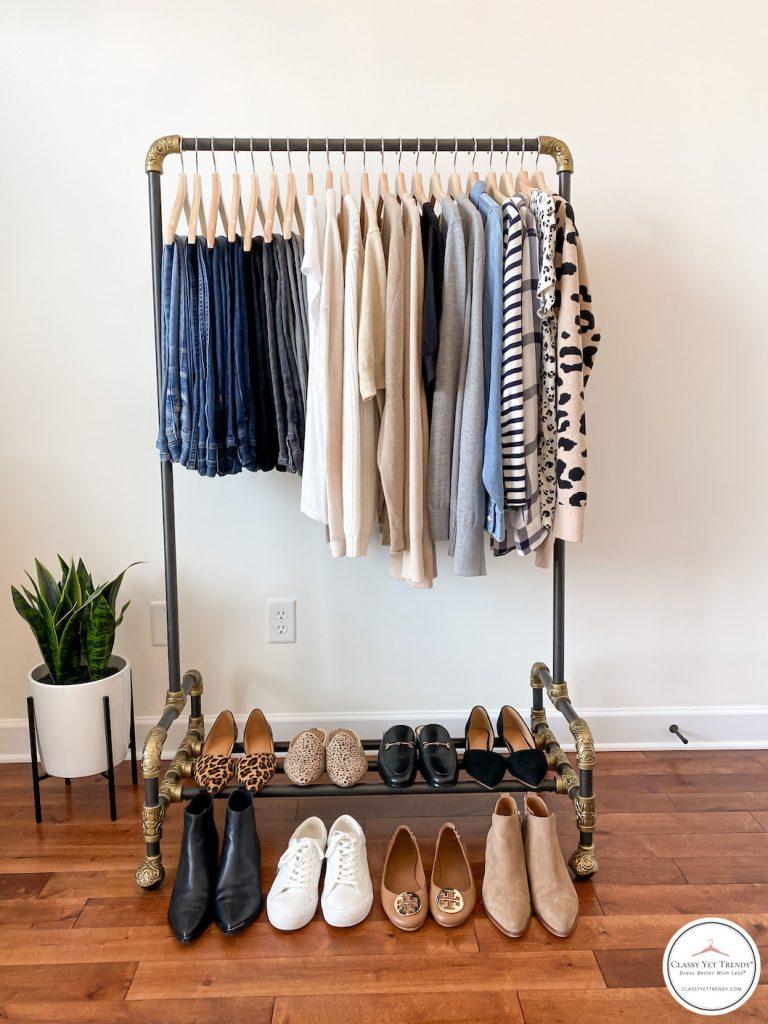 My Fall 2020 Neutral Capsule Wardrobe - clothes rack full