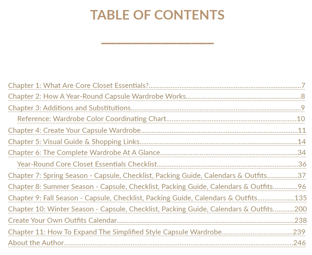 Simplified Style 2020 contents