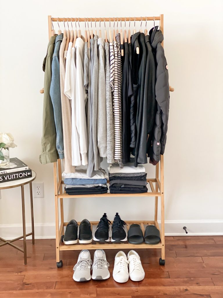Simplified Style Athleisure Capsule Wardrobe - clothes rack front full