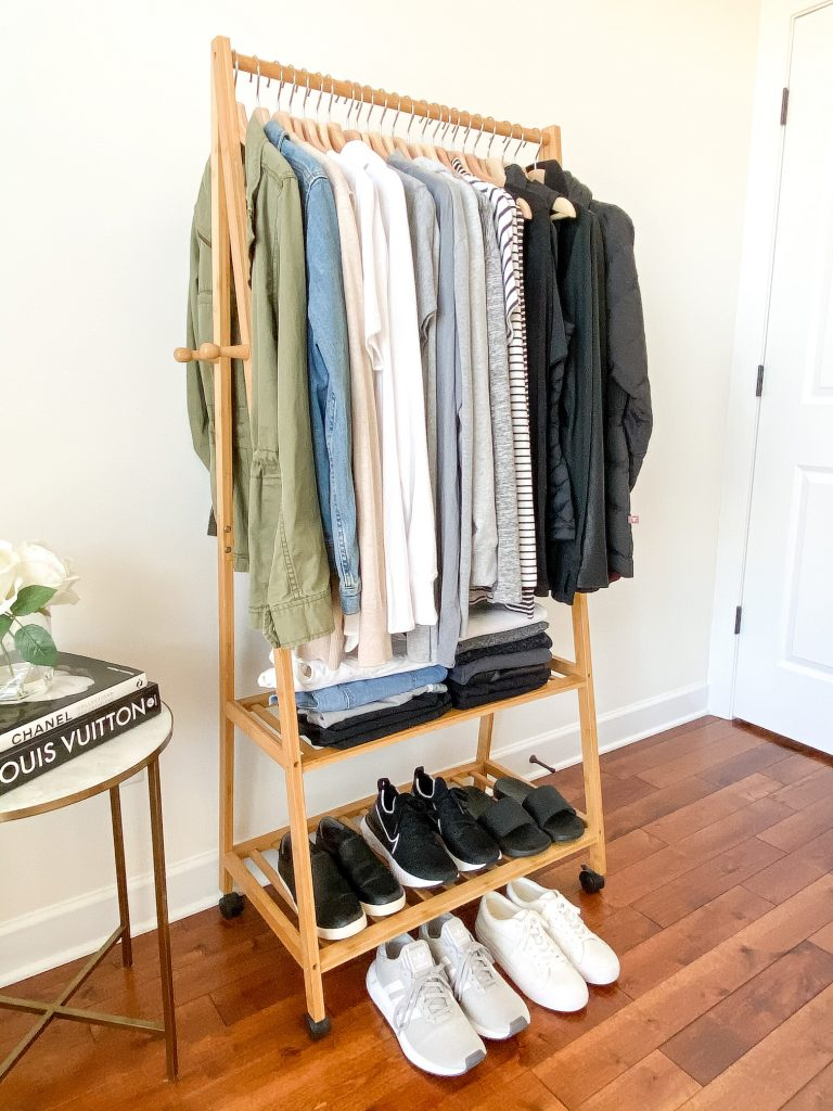 Simplified Style Athleisure Capsule Wardrobe - clothes rack side