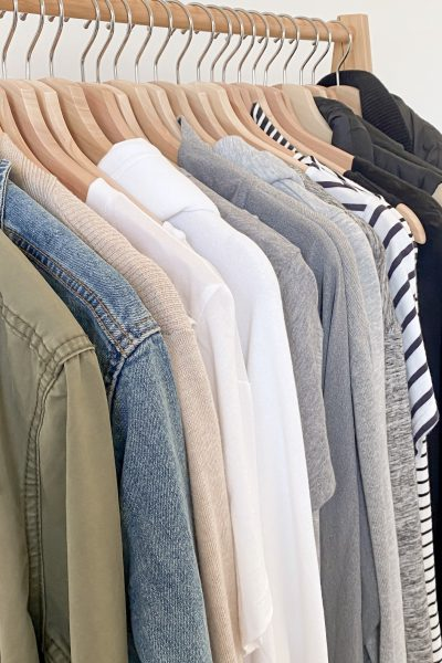 Simplified Style Athleisure Capsule Wardrobe - clothes rack tops side
