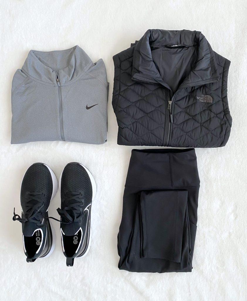 Simplified Style Athleisure Capsule Wardrobe - flatlay vest pullover leggings sneakers