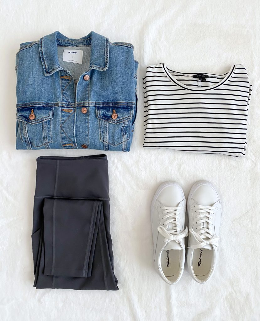 Simplified Style Athleisure Capsule Wardrobe - striped tee denim jacket leggings sneakers