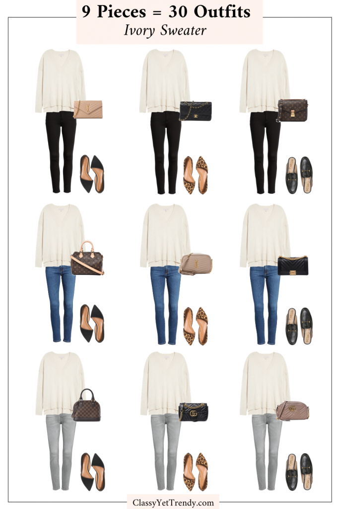 9 Pieces 30 Outfits - Ivory Sweater
