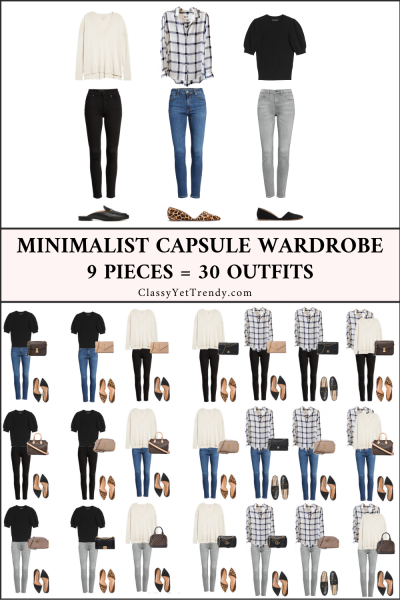 9 Pieces 30 Outfits - Minimalist Capsule Wardrobe