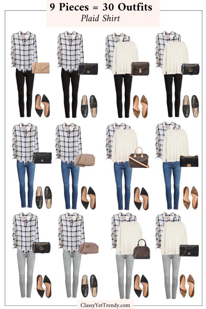 9 Pieces 30 Outfits - Plaid Shirt