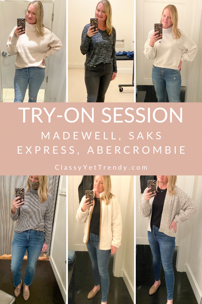 Dressing Room Try On Session Nov 2020 - Madewell, Saks, Express, Abercrombie