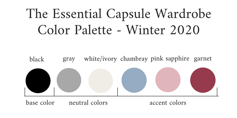 Essential Capsule Wardrobe Winter 2020 Color Palette