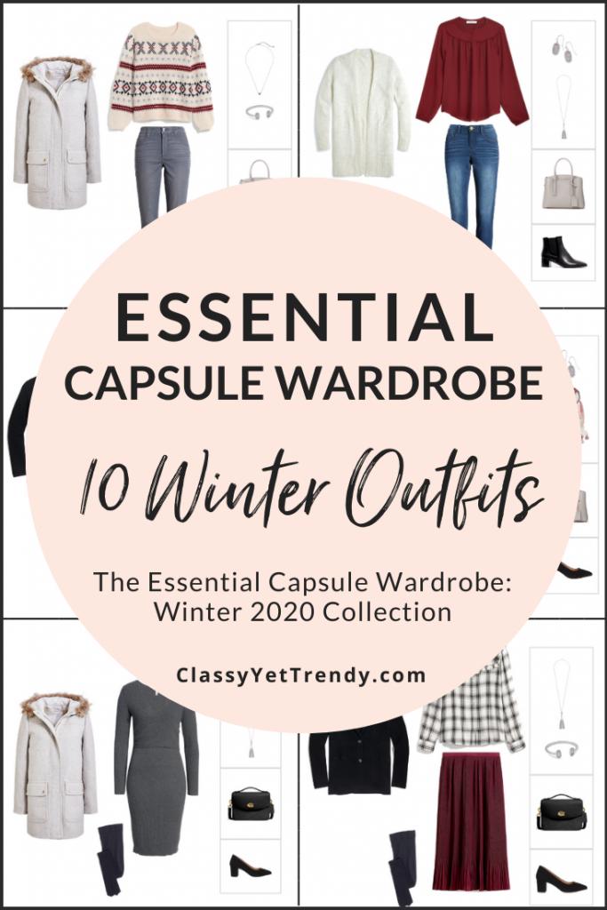 Essential Capsule Wardrobe Winter 2020 Sneak Peek - 10 Outfits PIN