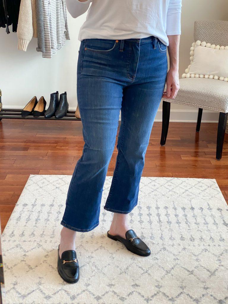 Madewell J Crew Try-On Nov20 - Cali Demi Boot Jeans Lockwood Wash closeup