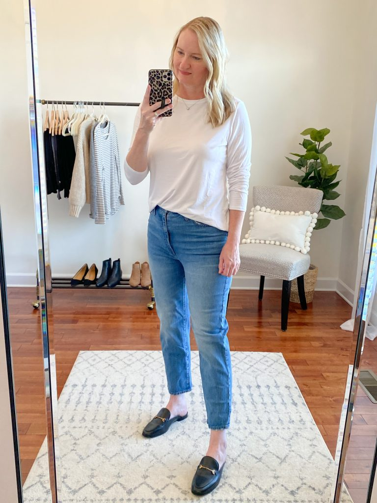 Madewell J Crew Try-On Nov20 - Classic Straight Jeans Nearwood Wash