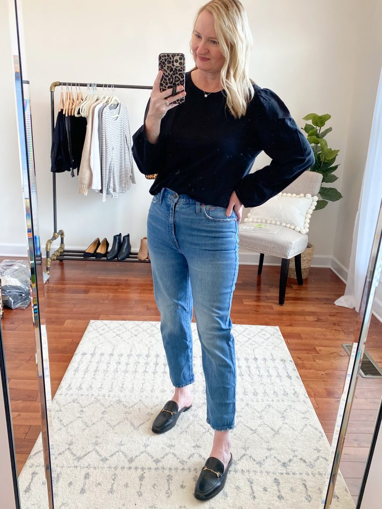 Madewell J Crew Try-On Nov20 - Classic Straight Jeans Puff Sleeve Black Top