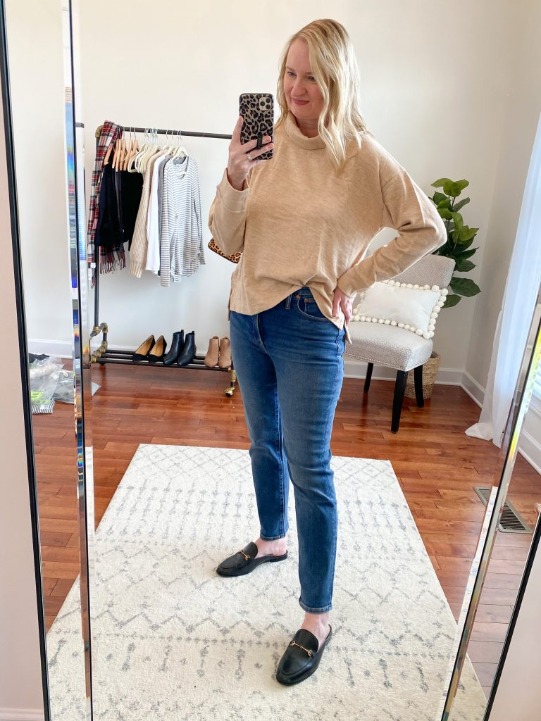 Madewell J Crew Try-On Nov20 - Cozy Terry Turtleneck Perfect Vintage Jeans Maplewood
