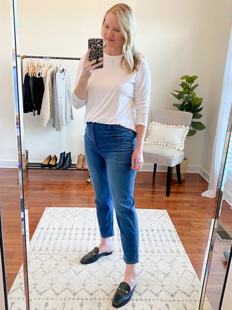 Madewell J Crew Try-On Nov20 - Curvy Stovepipe Jeans Leman Wash
