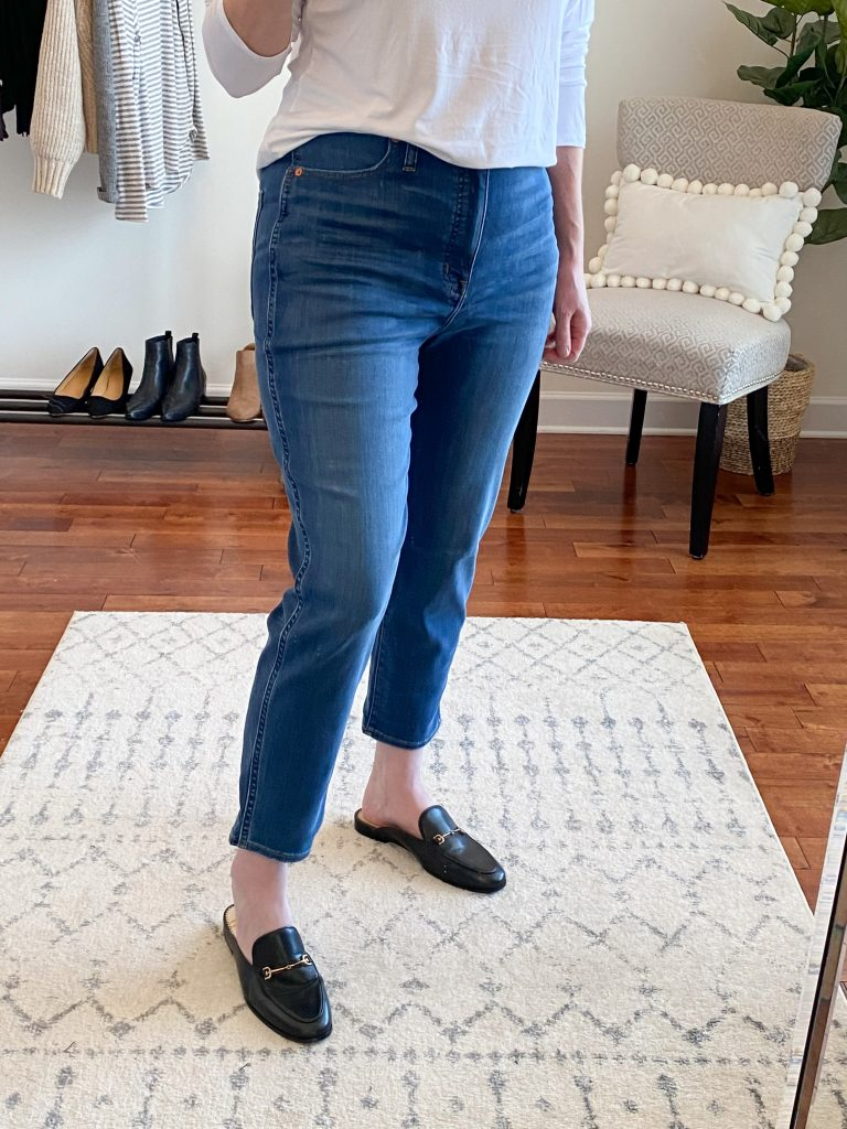 Madewell J Crew Try-On Nov20 - Curvy Stovepipe Jeans Leman Wash closeup