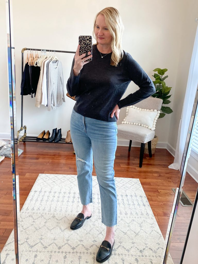 Madewell J Crew Try-On Nov20 - Margot Sweater Perfect Vintage Jeans