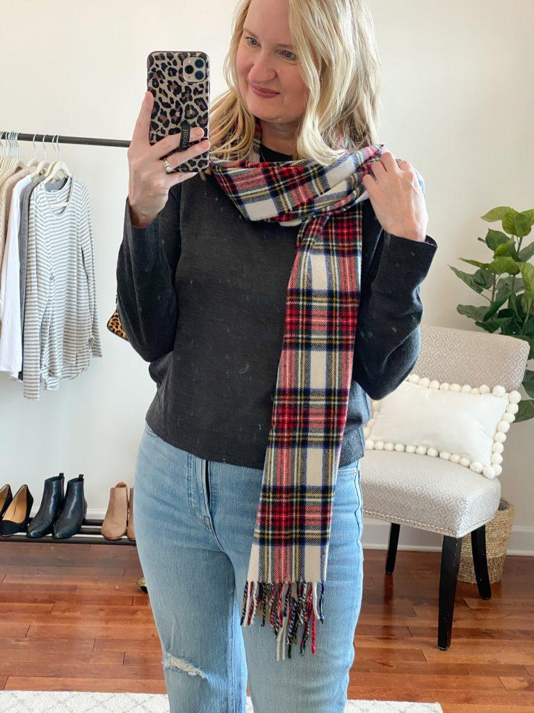 Madewell J Crew Try-On Nov20 - Margot Sweater Plaid Scarf