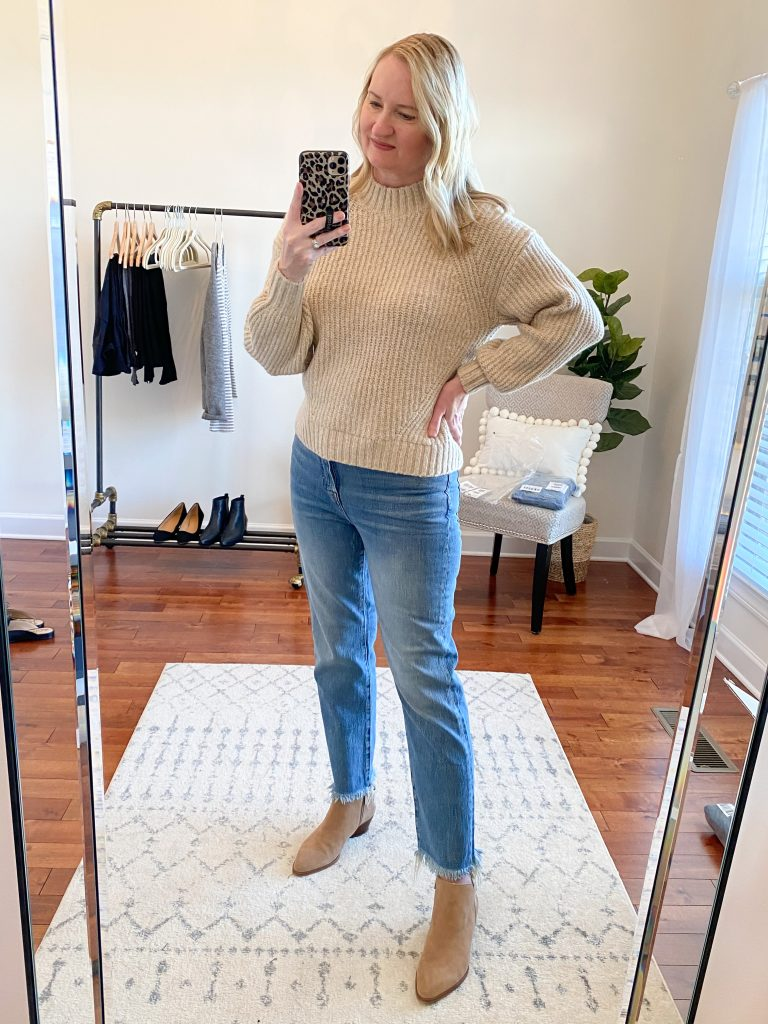 Madewell J Crew Try-On Nov20 - Perfect Vintage Crop Jeans Ainsworth Wash Old Navy Sweater 2