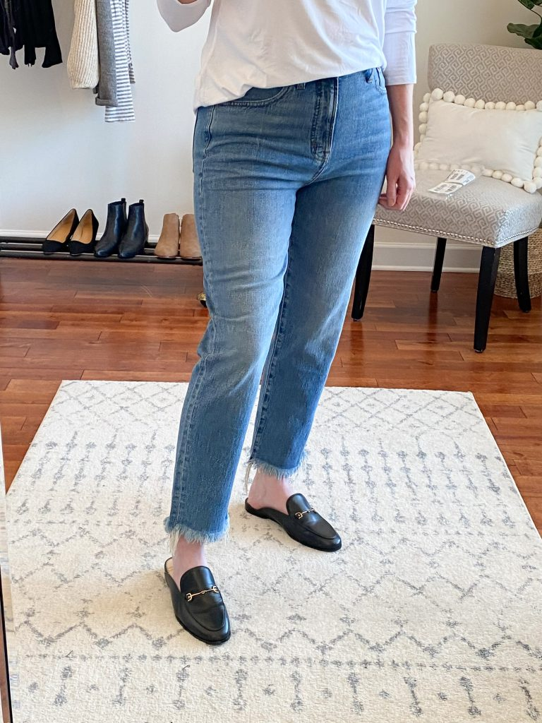 Madewell J Crew Try-On Nov20 - Perfect Vintage Crop Jeans Ainsworth Wash closeup