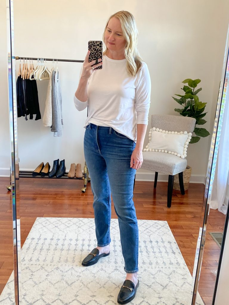 Madewell J Crew Try-On Nov20 - Perfect Vintage Jeans Maplewood Wash
