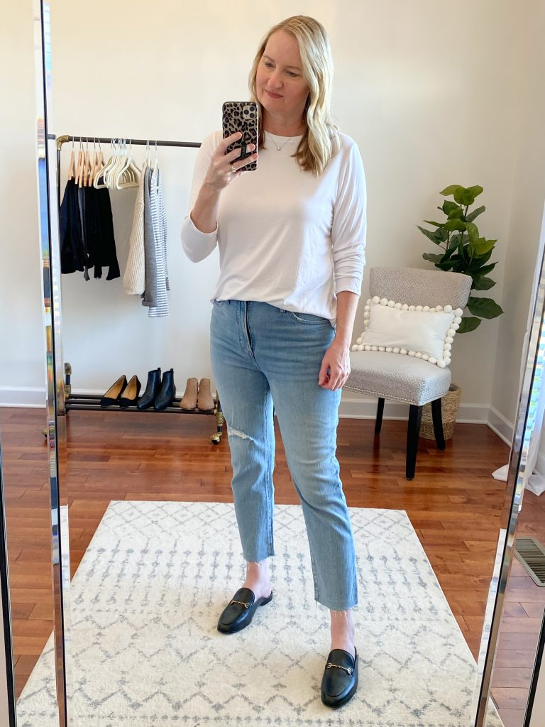 Madewell J Crew Try-On Nov20 - Perfect Vintage Jeans Rosabelle Wash