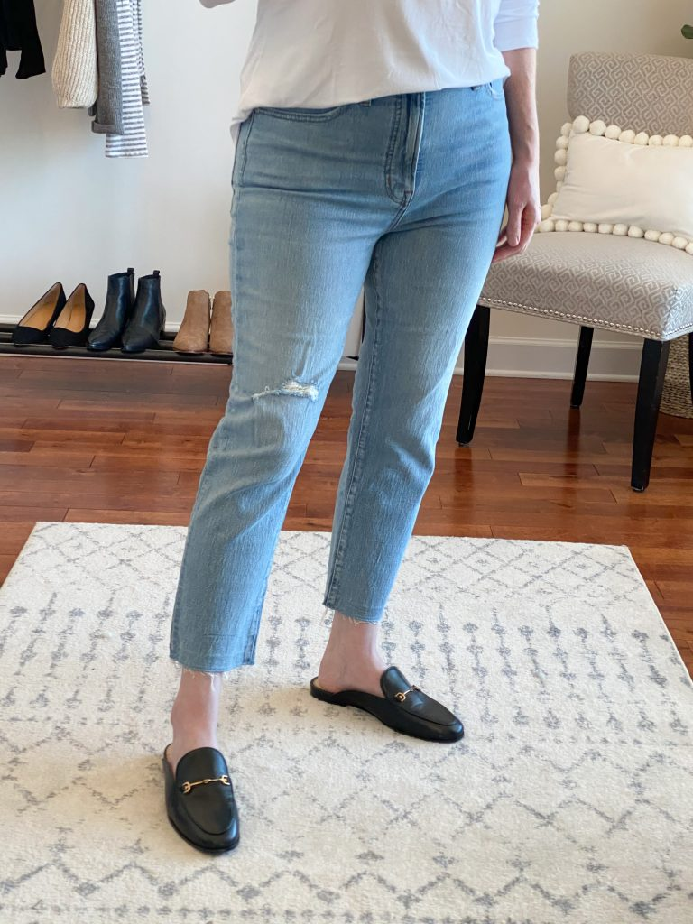 Madewell J Crew Try-On Nov20 - Perfect Vintage Jeans Rosabelle Wash closeup