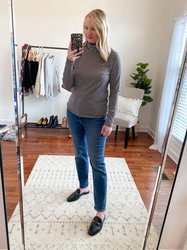 Madewell J Crew Try-On Nov20 - Tissue Stripe Turtleneck Perfect Vintage Jeans Maplewood
