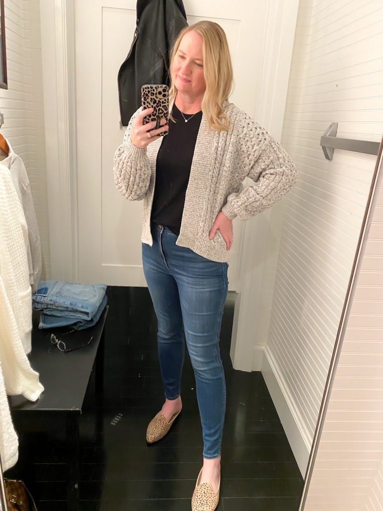 Madewell Saks Express Abercrombie Try-on Session - Gray Cable Cardigan