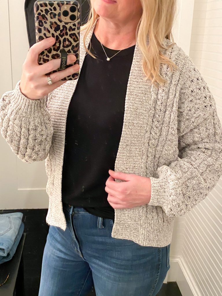Madewell Saks Express Abercrombie Try-on Session - Gray Cable Cardigan Closeup