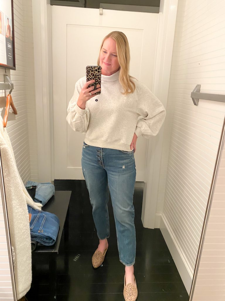 Madewell Saks Express Abercrombie Try-on Session - Gray Cable Cardigan Mom Jeans
