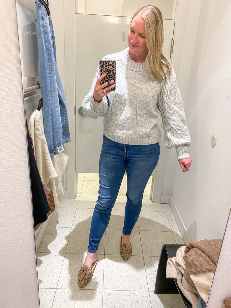 Madewell Saks Express Abercrombie Try-on Session - Gray Cable Knit Balloon Sleeve Sweater