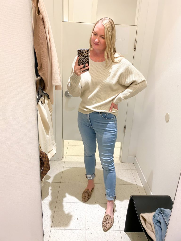 Madewell Saks Express Abercrombie Try-on Session - Ribbed Crewneck Sweater Released Hem Jeans