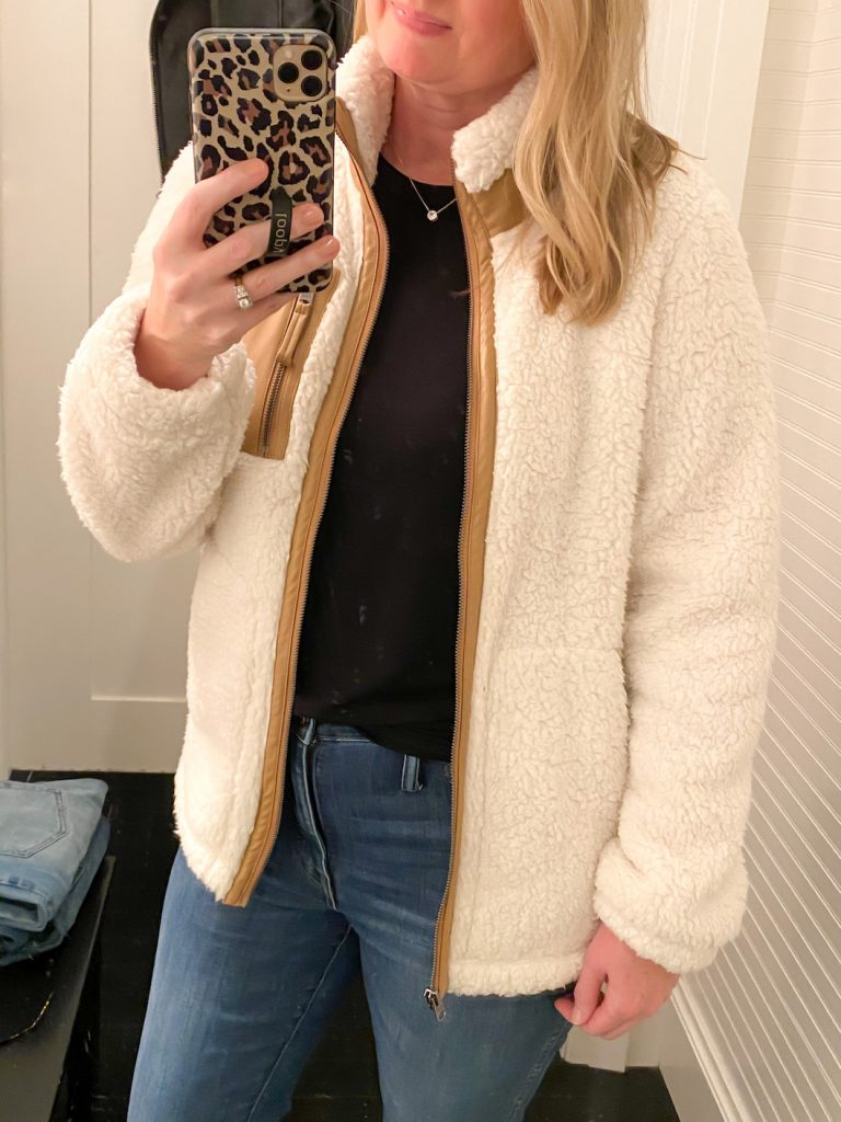 Madewell Saks Express Abercrombie Try-on Session - Sherpa Jacket closeup