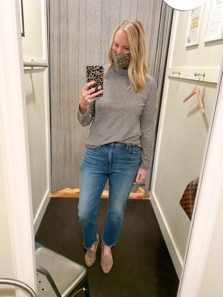 Madewell Saks Express Abercrombie Try-on Session - Striped Black Turtleneck