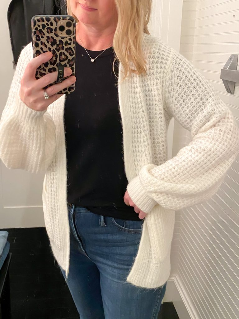 Madewell Saks Express Abercrombie Try-on Session - Waffle Stitch Cardigan Closeup