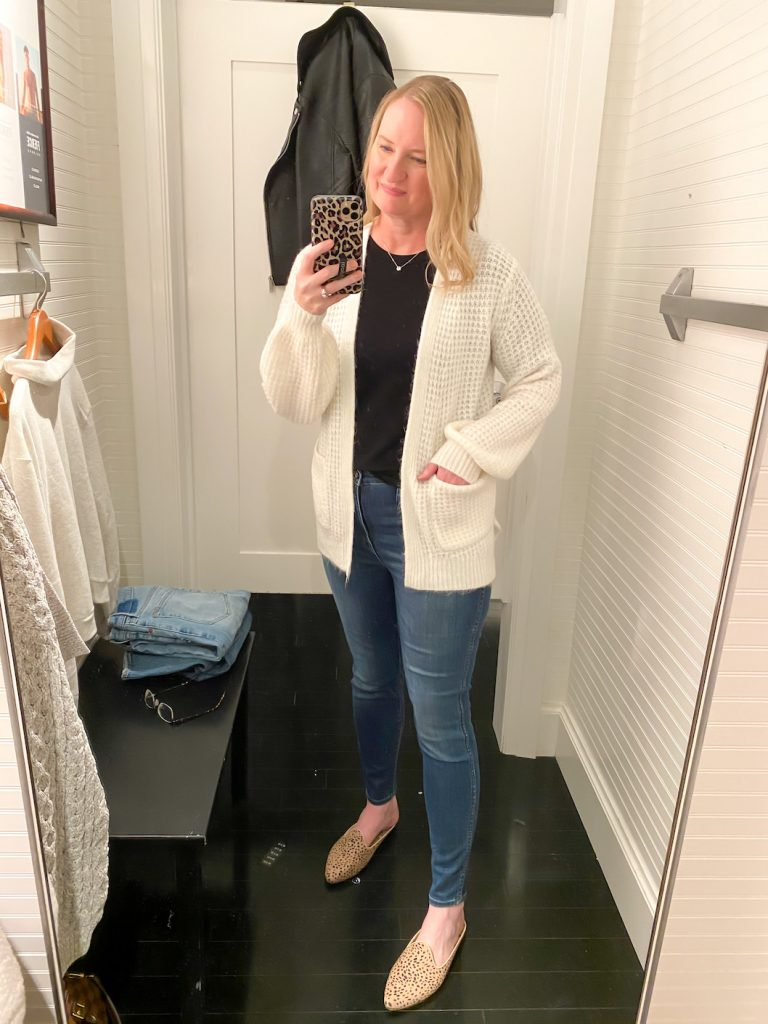 Madewell Saks Express Abercrombie Try-on Session - Waffle Stitch Duster Cardigan Cream