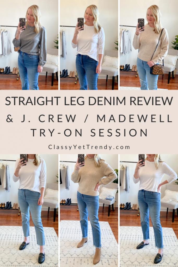 Straight Leg Denim Review + J Crew Madewell Try On Dressing Room Session Nov20
