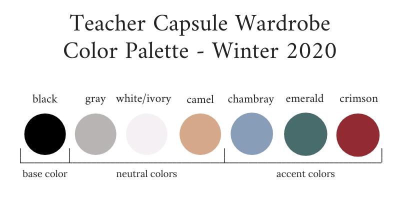 Teacher Capsule Wardrobe Winter 2020 Color Palette